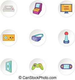 Play console icons set, cartoon style
