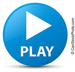 Play cyan blue round button