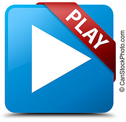 Play cyan blue square button red ribbon in corner