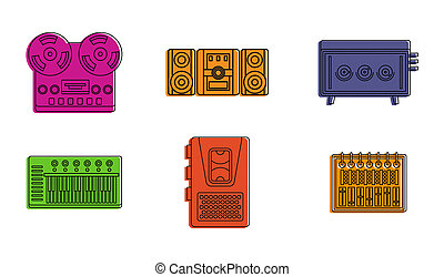 Play device icon set, color outline style