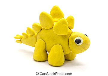 Play dough Stegosaurus on white background