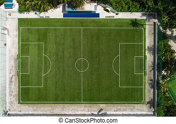 play-field., aéreo, campo, cima, fútbol, above., verde, ...