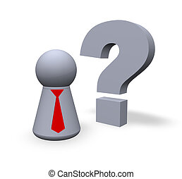 question - play figure with red tie and question mark in 3d