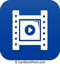 Play film strip icon blue vector