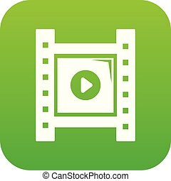 Play film strip icon green vector