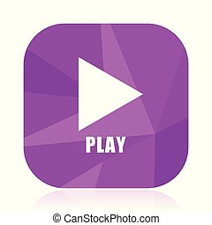 Play flat vector icon. Video violet web button. Media internet square sign. Multimedia modern design symbol in eps 10.
