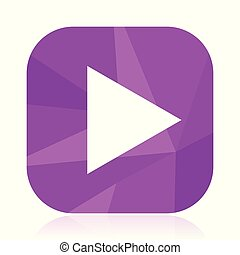 Play flat vector icon. violet web button. internet square sign. modern design symbol in eps 10.