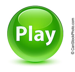 Play glassy green round button