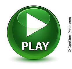 Play glassy soft green round button