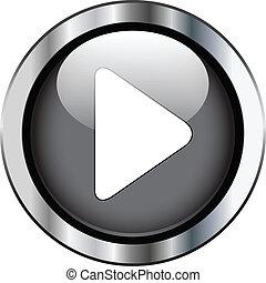 Play glossy button on metallic border