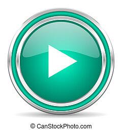 play green glossy web icon