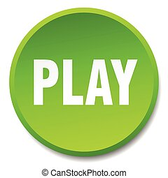 play green round flat isolated push button