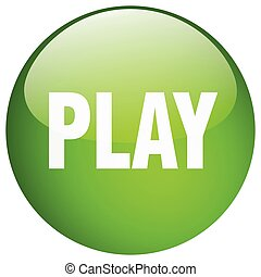 play green round gel isolated push button