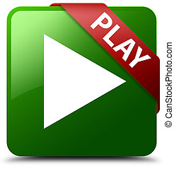 Play green square button red ribbon in corner