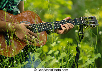 Play guitar in nature