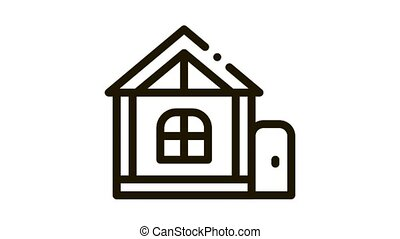 play house for children Icon Animation. black play house for children animated icon on white background