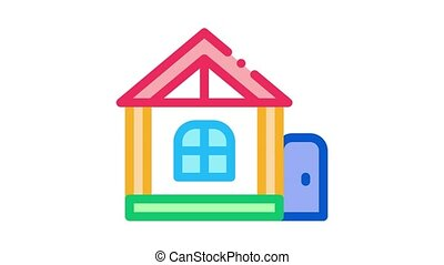 play house for children Icon Animation. color play house for children animated icon on white background