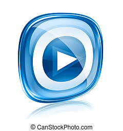 Play icon button blue glass, isolated on white background.