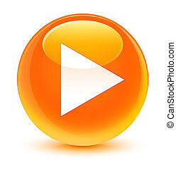 Play icon glassy orange round button