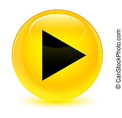 Play icon glassy yellow round button