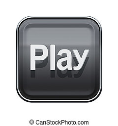 Play icon glossy grey, isolated on white background