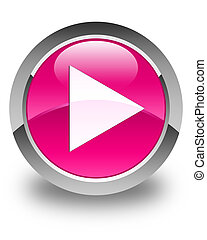 Play icon glossy pink round button