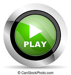play icon, green button