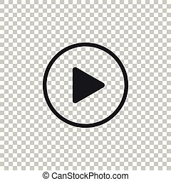 Play icon isolated on transparent background. Flat design. Vector Illustration