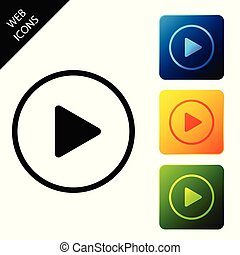 Play icon isolated. Set icons colorful square buttons. Vector Illustration