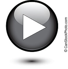 Play icon on black button - Play icon on black glossy button