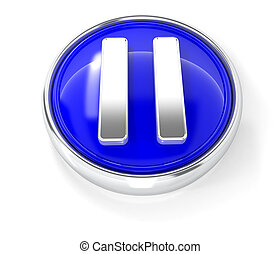 Play icon on glossy blue round button