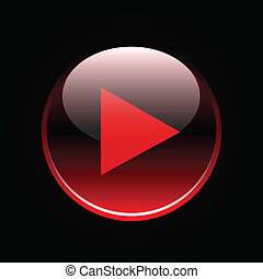 Play icon on red glossy button