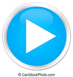 Play icon premium cyan blue round button