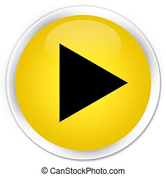 Play icon premium yellow round button