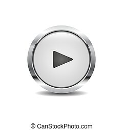 Play icon vector image round 3d button with metal frame