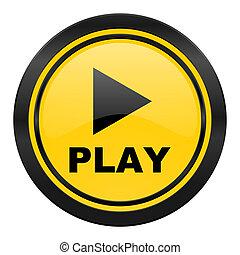 play icon, yellow logo,