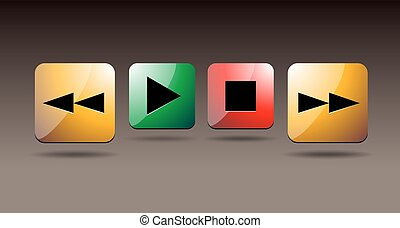 Play icons. Vector buttons