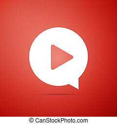 Play in circle icon isolated on red background. Flat design. Vector Illustration
