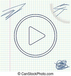 Play line sketch icon isolated on white background. Vector Illustration