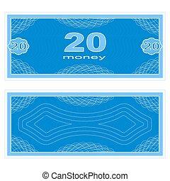 Play money. Twenty - Game money. Set on a white background....