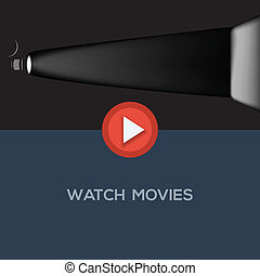 Play movie button, flat design, vector Eps10 illustration.