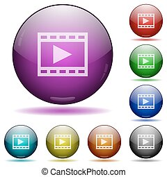 Play movie glass sphere buttons
