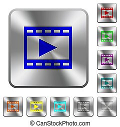 Play movie rounded square steel buttons