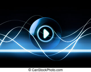 abstract concept about sound and music with waves and play button icon