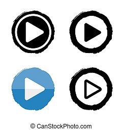 Play music icons. Vector buttons white and black