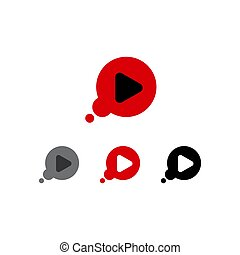 play now button four colored editable call to action buttons vector illustrations