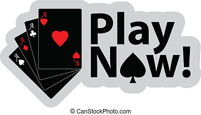 Play now - Vector illustration of winning poker hand of four...