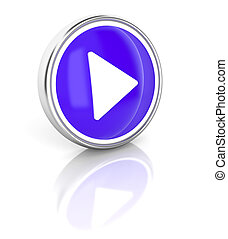 Play on glossy blue round button