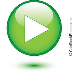 Play on green glossy button