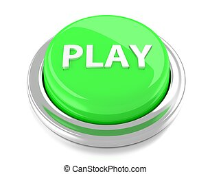 PLAY on green push button. 3d illustration. Isolated background.